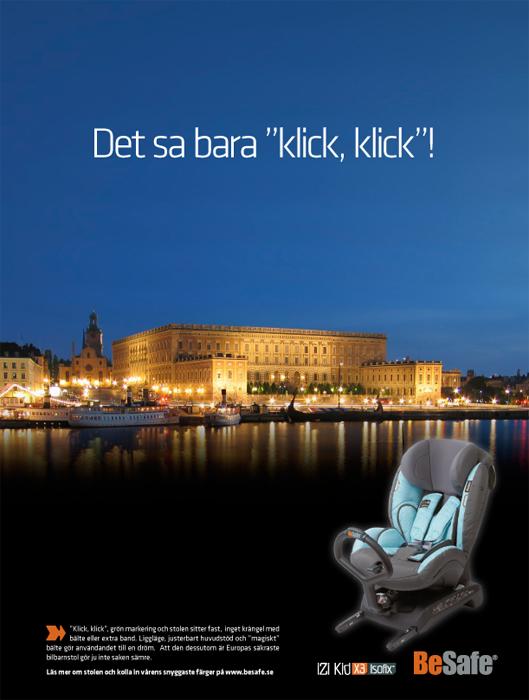 Det sa bara klick, klick! iZi Kid ISOfix annons till Skodas egen tidning.